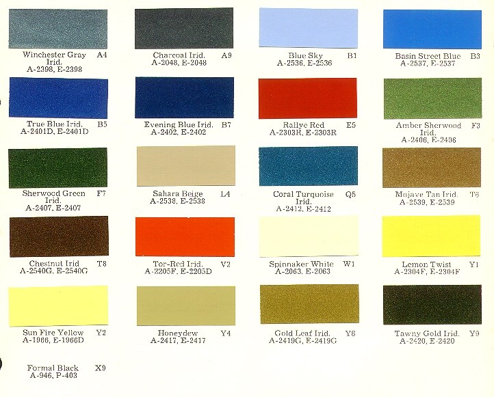 Mopar Color Charts