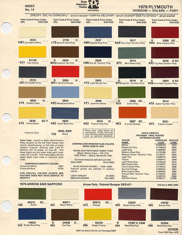 1978 plymouth pc 1971 plymouth paint codes color chart on 1940 ford wiring diagram